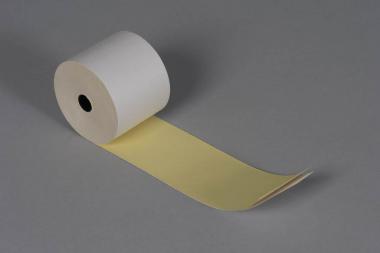 20 rouleaux de caisse 57x70x12, 22 m, en papier autocopiant blanc/jaune.